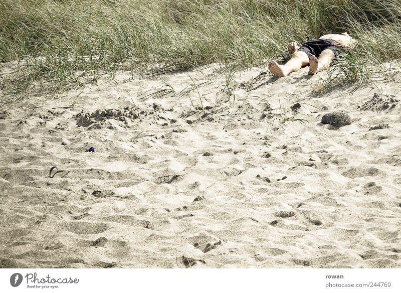 sonnenbad Mensch Mann Ferien & Urlaub & Reisen Strand ruhig Erwachsene Sand Küste Zufriedenheit liegen maskulin dick Sonnenbad Leiche