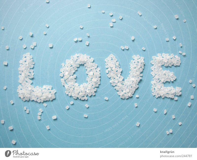 LOVE weiß blau Liebe Ernährung Gefühle hell Lebensmittel süß Kommunizieren Schriftzeichen Kreativität Wort Verliebtheit Hagelzucker