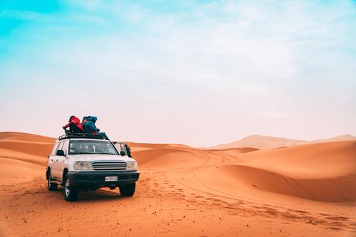 Sonnenaufgang Wüste Jeep Tour Ferien & Urlaub & Reisen Tourismus Ausflug Abenteuer Safari Expedition Freundschaft Natur Landschaft Sand Horizont Sonnenuntergang