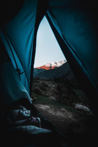 Himmel Natur Ferien & Urlaub & Reisen blau Landschaft Berge u. Gebirge Schnee Tourismus Freiheit orange Felsen Ausflug Freizeit & Hobby wandern Horizont
