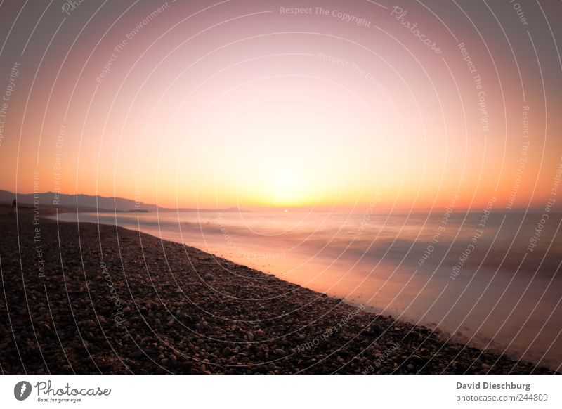 Ich, die Weinflasche und die Romantik Wasser Ferien & Urlaub & Reisen rot Sonne Sommer Meer Strand ruhig Erholung Ferne Landschaft gelb Freiheit Küste Horizont