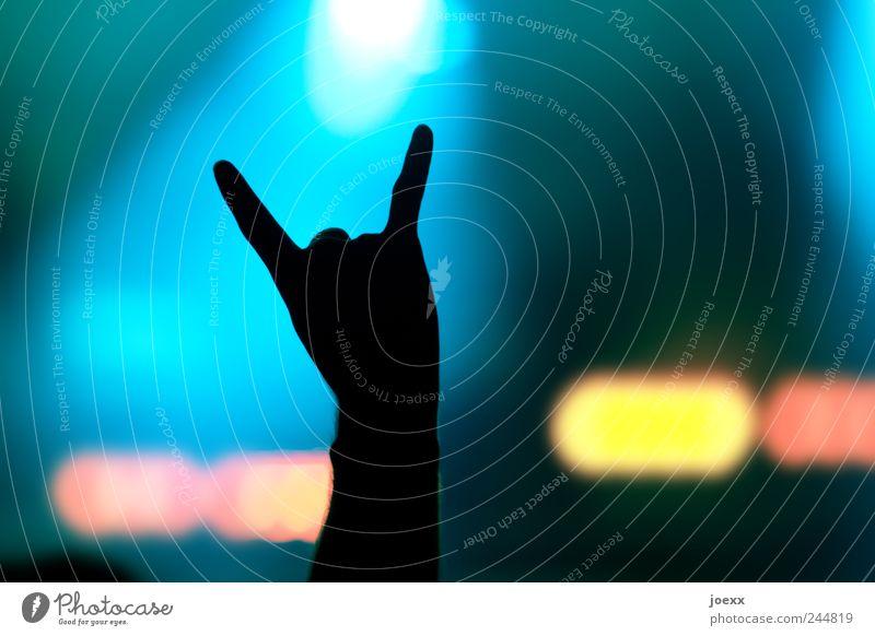 Symbol Freude Mann Erwachsene Arme Hand Finger 1 Mensch Konzert Bühne Zeichen Musik hören Coolness Fröhlichkeit blau gelb rot schwarz Stimmung Freizeit & Hobby