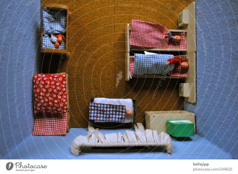 gute nacht! Lifestyle Häusliches Leben Wohnung Innenarchitektur Möbel Bett Raum Schlafzimmer Mensch Frau Erwachsene Mann Eltern Kindheit 5 schlafen Kinderbett