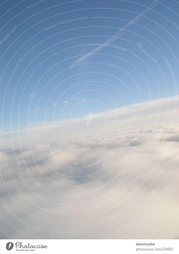 Wolken Flugzeug weich Himmel fliegen Sonne Feder blau