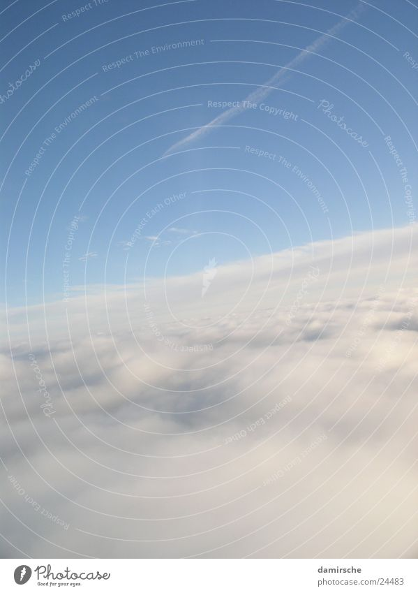 Wolken Himmel Sonne blau Flugzeug fliegen weich Feder