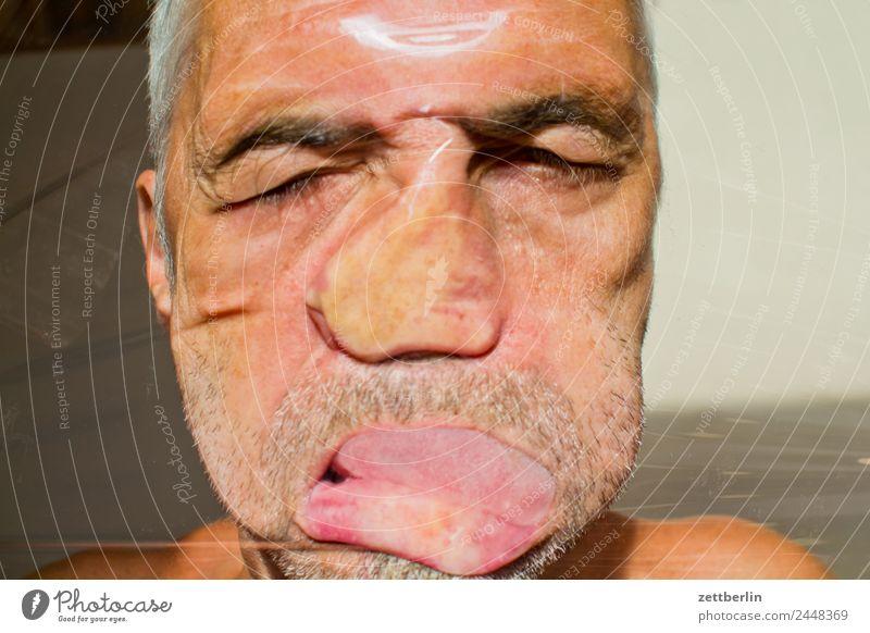 Gesicht frischhaltefolie Porträt Auge Nase Mund Bart Deformation Druck Folie Strukturen & Formen Mann melt Kunststoff Statue Skulptur verschoben Verzerrung