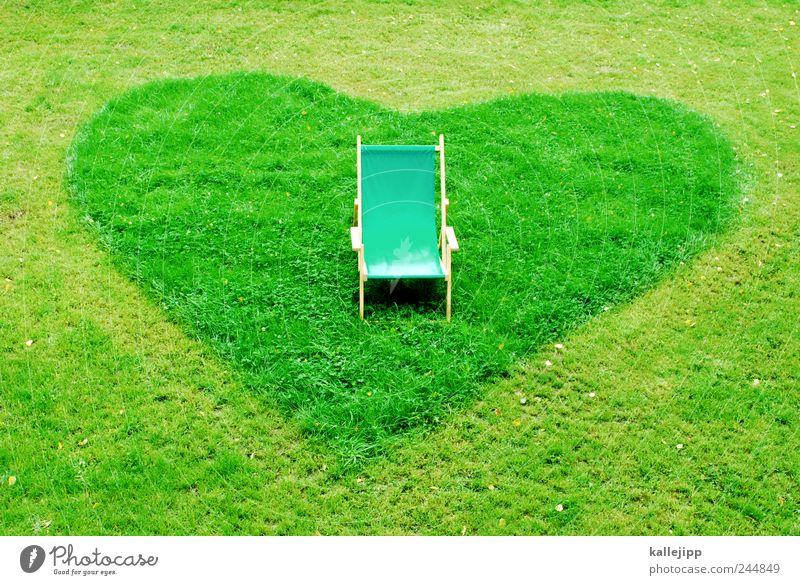 lieblingsplatz Natur Pflanze Liebe Wiese Garten Park Herz Pause Stuhl Zeichen Sonnenbad Sessel Umweltschutz Liegestuhl rasenmähen Lieblingsplatz