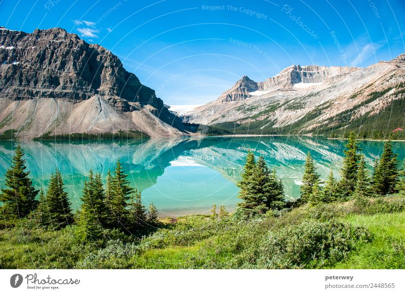 Bow Lake Panorama at the Icefield Parkway in Banff National Park Natur Ferien & Urlaub & Reisen Sommer blau grün Berge u. Gebirge Glück See Schwimmen & Baden