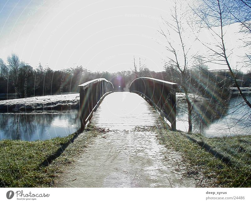 Brücke Natur Himmel Sonne See Landschaft