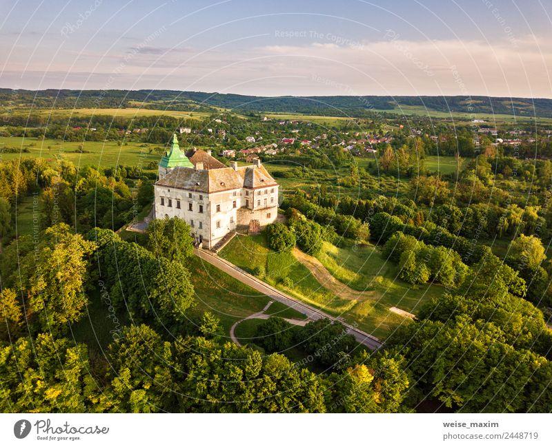 Olesko-Palast aus der Luft. Sommerpark und Burg auf den Hügeln. Ferien & Urlaub & Reisen Tourismus Museum Natur Landschaft Himmel Frühling Schönes Wetter Baum