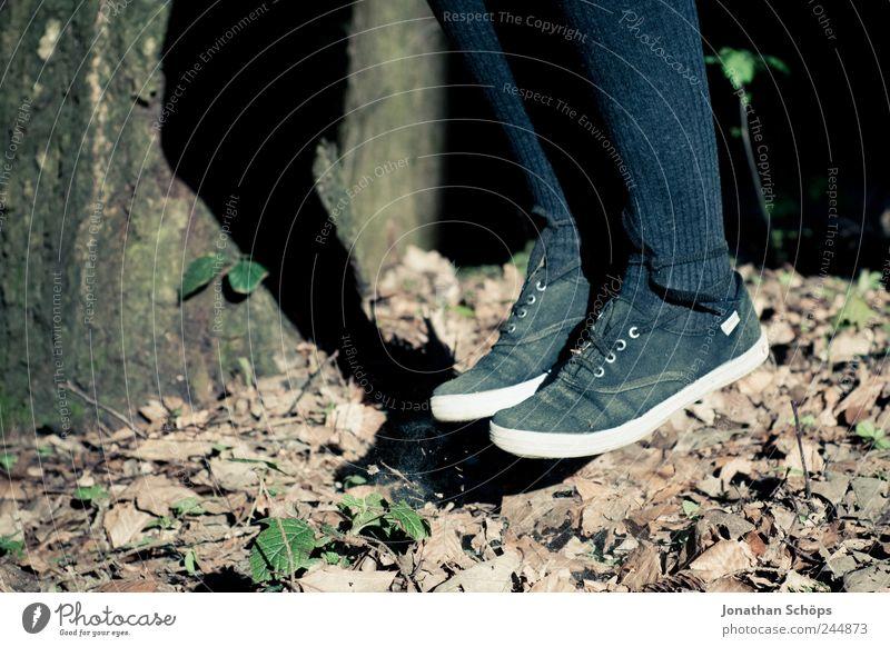 Laubhüpfer I Mensch Natur blau weiß Freude Blatt Umwelt Herbst springen Beine Fuß braun Schuhe Schweben hängen Abheben