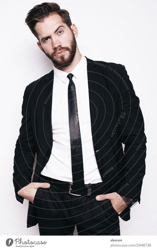 stylischer Typ mit Bart im Business Office Anzug Lifestyle Kindererziehung Bildung Lehrer Arbeit & Erwerbstätigkeit Beruf Büroarbeit Mensch maskulin Junger Mann
