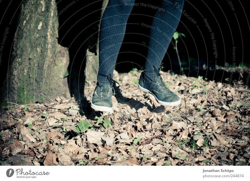Laubhüpfer II Mensch Natur Mädchen Herbst springen Beine Fuß Schuhe Kindheit Politische Bewegungen Schweben hängen Abheben Herbstlaub Strumpfhose hüpfen