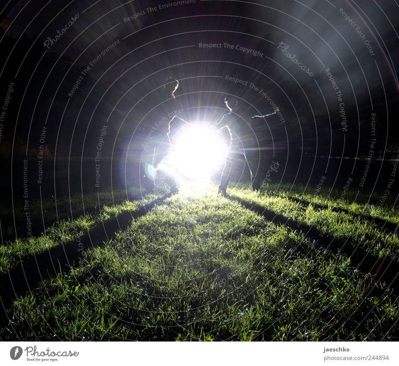 Gegenlicht Mensch Mann Freude Erwachsene Wiese dunkel Religion & Glaube träumen hell maskulin Fröhlichkeit gefährlich außergewöhnlich Zukunft Kreativität