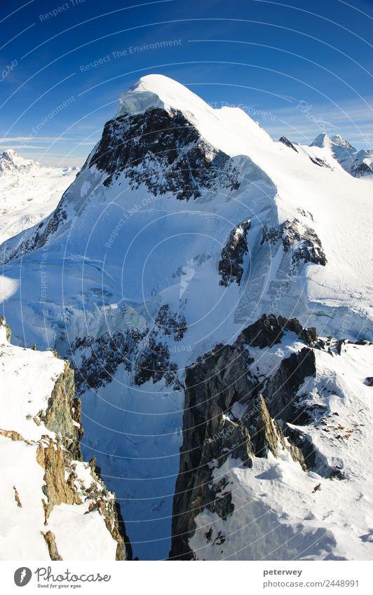 Breithorn mountain peak. View from kl. Matterhorn, Zermatt Ausflug Freiheit Berge u. Gebirge wandern Natur Schnee Alpen kalt Schweiz alpin alps
