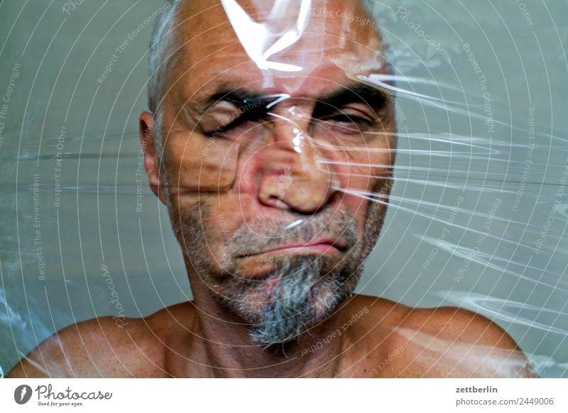 Gesicht again Auge Bart Deformation Folie frisch Strukturen & Formen Mann melt Mund Nase Kunststoff Statue Skulptur Porträt Fensterscheibe verschoben Verzerrung