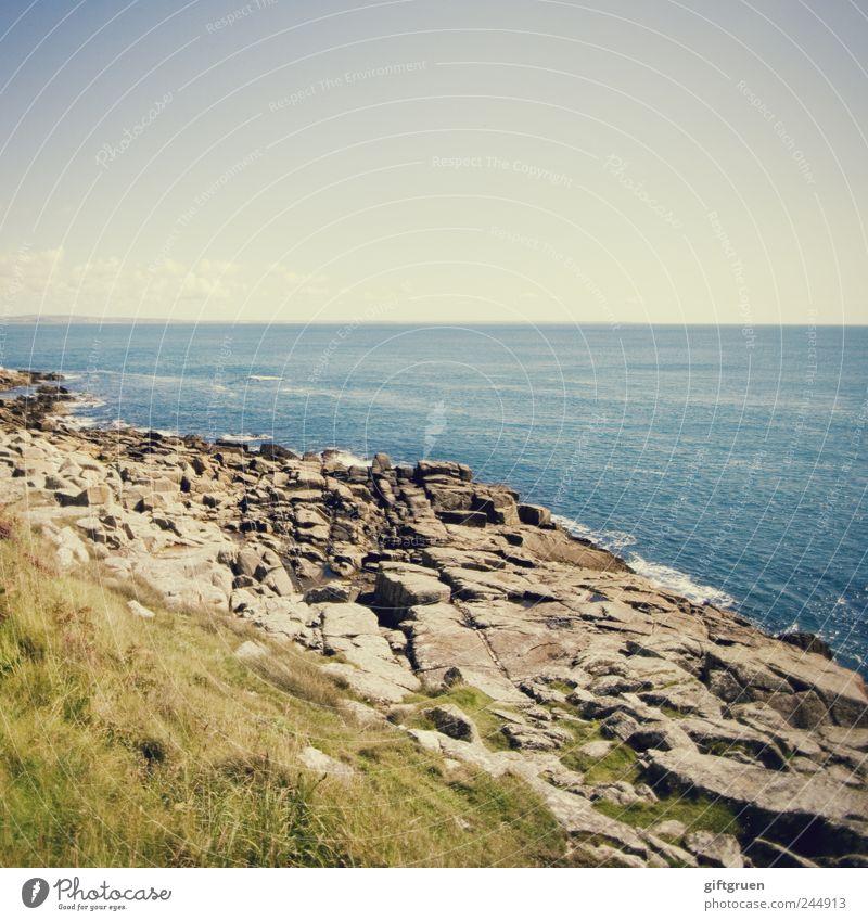 eons of time Umwelt Natur Pflanze Urelemente Luft Wasser Himmel Horizont Sommer Schönes Wetter Wiese Wellen Küste Meer Insel Cornwall England Großbritannien