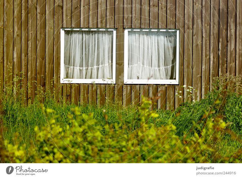 Hafenidylle Sträucher Dorf Fischerdorf Haus Hütte Gebäude Mauer Wand Fassade Fenster Holz einzigartig Kitsch Häusliches Leben 2 paarweise Gardine Farbfoto