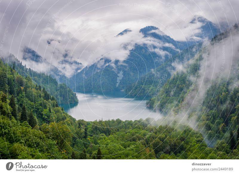 Ritsa-See, Abchasien schön Erholung Ferien & Urlaub & Reisen Tourismus Ausflug Sommer Berge u. Gebirge Umwelt Natur Landschaft Wolken Nebel Baum Gras Park Wald