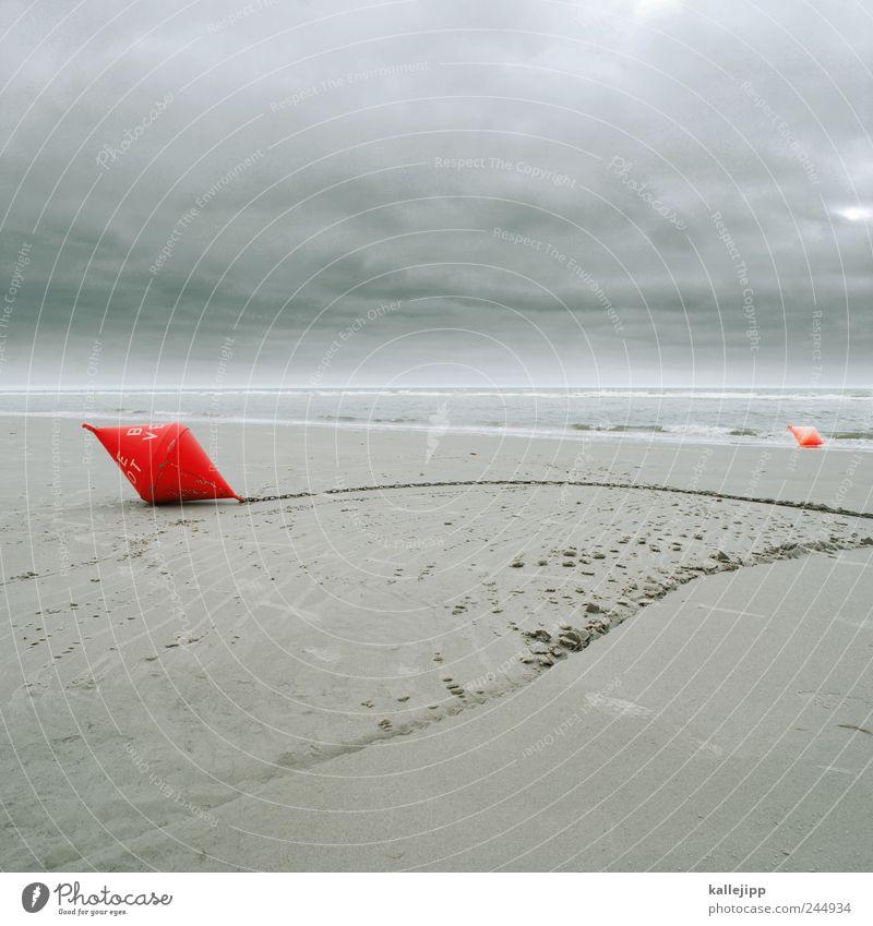 gezeiten Umwelt Natur Landschaft Sand Wasser Himmel Wolken Wind Wellen Küste Nordsee rot Fass Kette Schilder & Markierungen Gewässer Signal Ebbe Flut Farbfoto