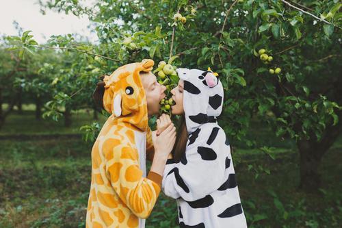 Liebespaar im Park im Pyjama Freizeit & Hobby Spielen Ferien & Urlaub & Reisen Tourismus Abenteuer Freiheit Party Valentinstag Mensch maskulin feminin