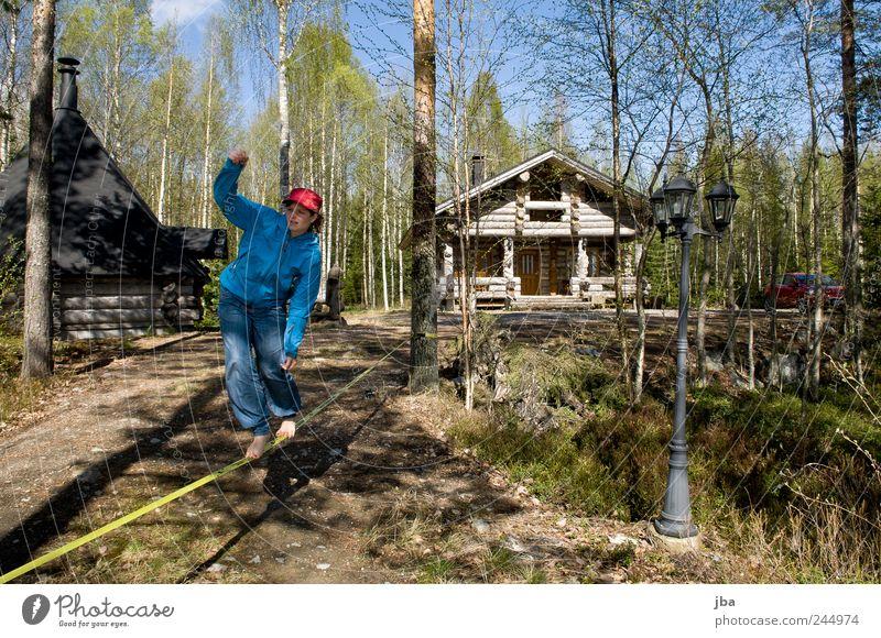 Balance Lifestyle Freizeit & Hobby Ferien & Urlaub & Reisen Haus Fitness Sport-Training Junge Frau Jugendliche Erwachsene 1 Mensch 18-30 Jahre Schönes Wetter