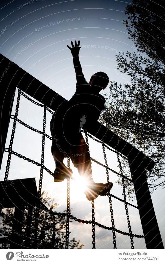 Hallo Welt! Mensch Kind Hand Baum Freude Spielen oben Junge Glück Kindheit Freizeit & Hobby maskulin Erfolg Sträucher Klettern