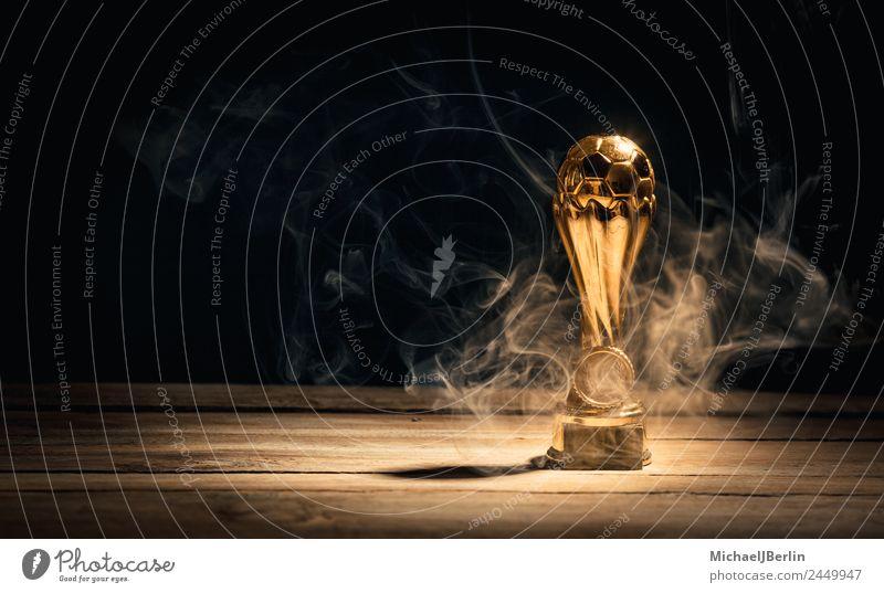 rauchender Fußballpokal Sport Ballsport Sportler Pokal Erfolg Rauch Meister American Football heiß Feuer Gold Schatten Farbfoto Studioaufnahme