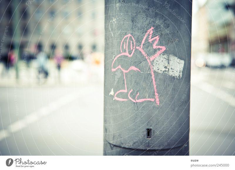 Komischer Vogel Stadt Graffiti Straße lustig grau Stil Vogel rosa Freizeit & Hobby Lifestyle Design Platz Laterne Stadtzentrum Hauptstadt Comic