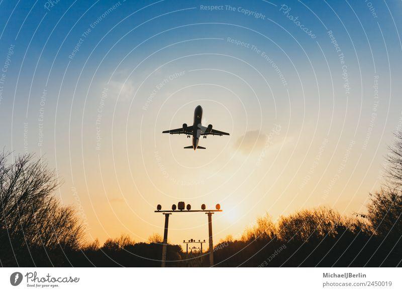 Flugzeug im Sonnenuntergang Ferien & Urlaub & Reisen Bildungsreise Natur Himmel Sonnenaufgang Sonnenlicht Luftverkehr Flugzeuglandung Flugzeugstart fliegen Air