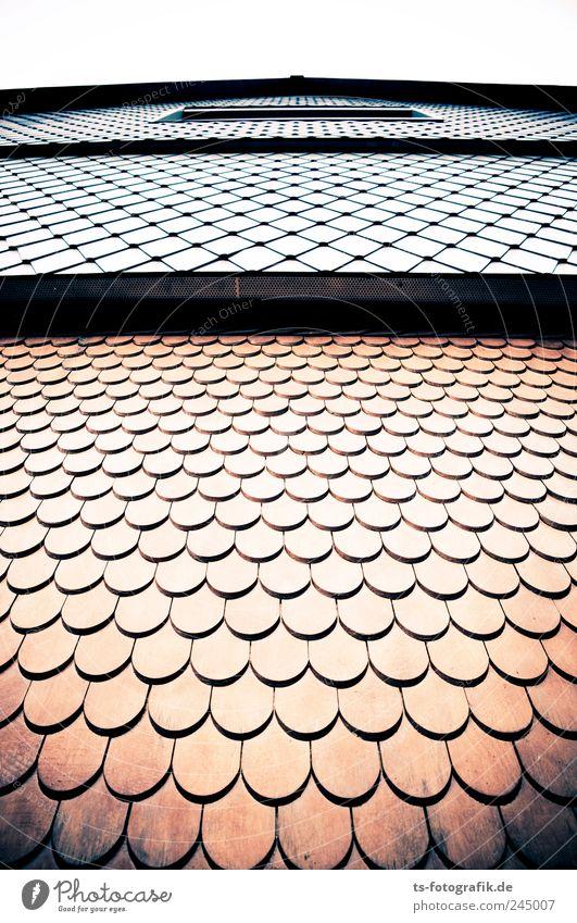 Fassaden-Mode Menschenleer Haus Einfamilienhaus Bauwerk Gebäude Mauer Wand Holz Linie braun grau Dachziegel Holzschindel verkleiden Maske netzartig Schuppen