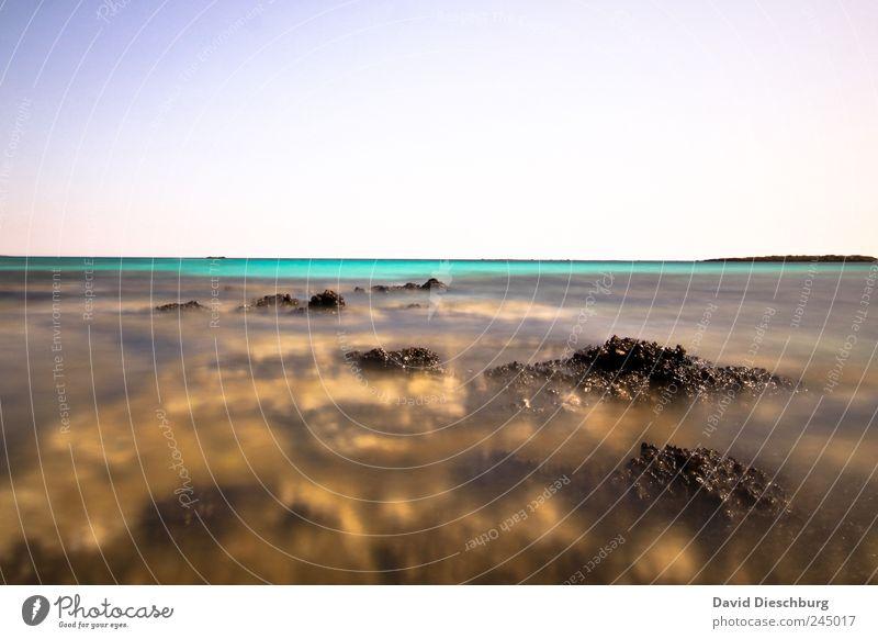 Faszination Meer Ferne Freiheit Natur Landschaft Wasser Wolkenloser Himmel Sommer Schönes Wetter Felsen Küste Riff Korallenriff Insel blau braun türkis Kreta