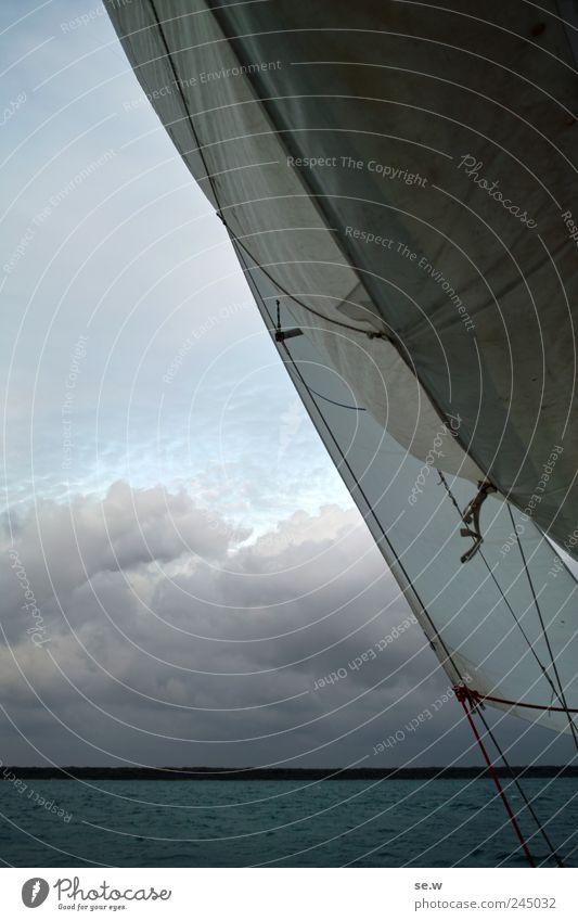 Hisst die Segel! Ausflug Sommer Strand Meer Insel Segeltörn Himmel Wolken Schönes Wetter Wind Küste Sport blau Farbfoto Textfreiraum links Totale