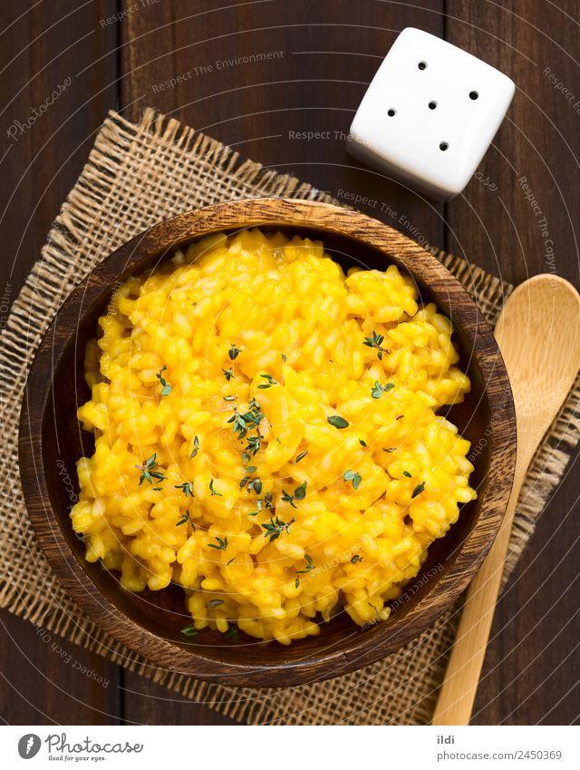 Kürbis-Risotto Gemüse Vegetarische Ernährung Gesundheit Lebensmittel Reis Squash orange gebraten gebastelt cremig Püree gestampft Italienisch arborio