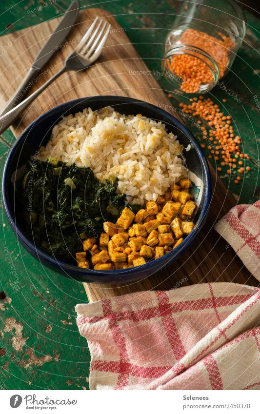 Linsen und Spinat Lebensmittel Gemüse Getreide Reis Tofu Ernährung Essen Mittagessen Abendessen Bioprodukte Vegetarische Ernährung Diät Fasten