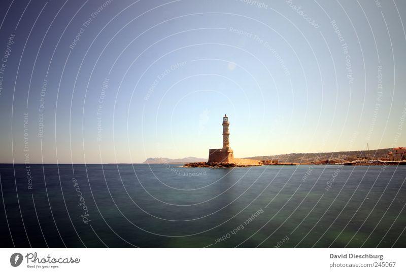 Leuchtturm / Chania blau Ferien & Urlaub & Reisen Meer Ferne Landschaft Horizont braun Insel Turm Schönes Wetter Bauwerk Sommerurlaub Wahrzeichen