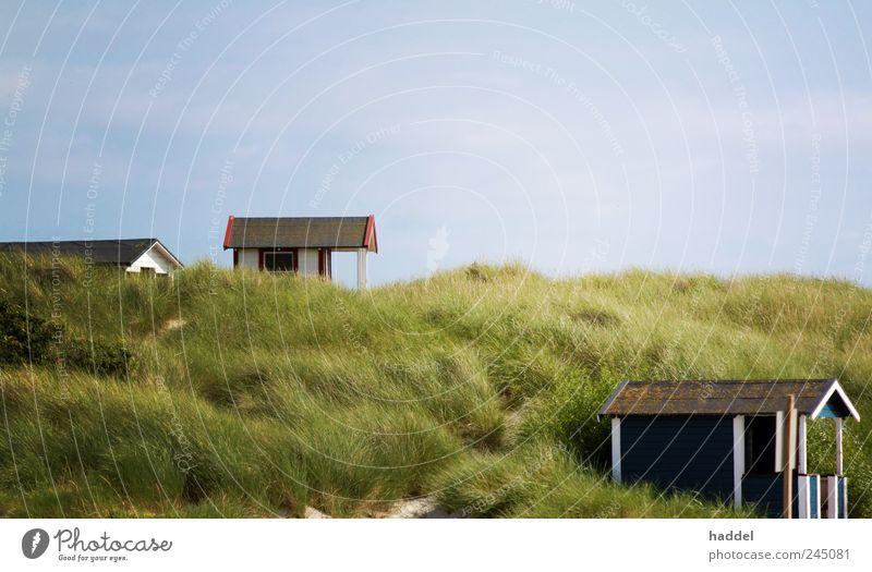 Refugien Himmel Freude Sommer Ferien & Urlaub & Reisen Strand Meer ruhig Haus Erholung Landschaft Gras Glück Sand Küste Zufriedenheit Freizeit & Hobby