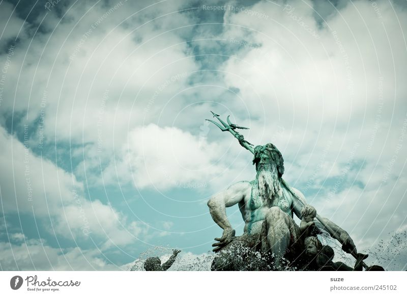 Waterloo Himmel Wasser blau Wolken Umwelt Berlin Kunst Wetter Deutschland Europa Kultur Brunnen Symbole & Metaphern historisch Statue Wahrzeichen