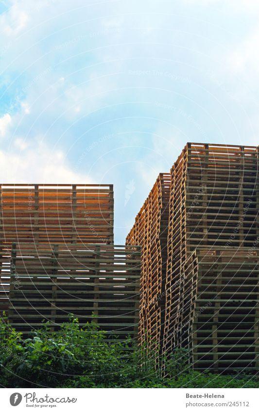 Im Reich der Hochstapler Himmel Stadt Mauer Wand Kasten Container Holz bauen Bewegung Wachstum ästhetisch außergewöhnlich hoch blau braun grün Freude anstrengen