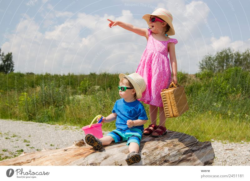 A boy and a girl in toddlerhood are standing on a log Mensch Ferien & Urlaub & Reisen Freude Strand Familie & Verwandtschaft träumen Baby Vorfreude Begeisterung
