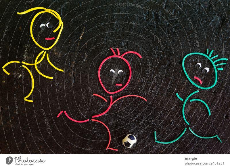 Fußballspiel! sportlich Fitness Freizeit & Hobby Spielen Sport Sport-Training Ballsport Fußballplatz maskulin Mann Erwachsene 3 Mensch gelb grün rot Freude