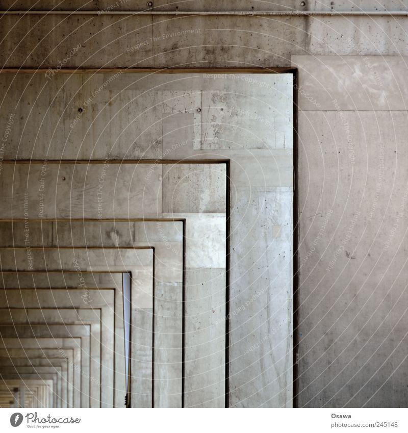 Arkaden Beton Gebäude Konstruktion Träger Strebe Rahmen Perspektive Tiefe Reihe Wiederholung eckig rechtwinklig horizontal vertikal Strukturen & Formen Ordnung