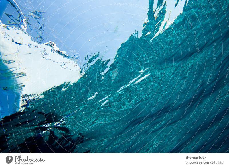 Fischperspektive II blau Wasser Meer Sommer Bewegung Wasserfahrzeug Wellen Freizeit & Hobby Schönes Wetter tauchen fantastisch Flüssigkeit Segelboot Jacht Unterwasseraufnahme