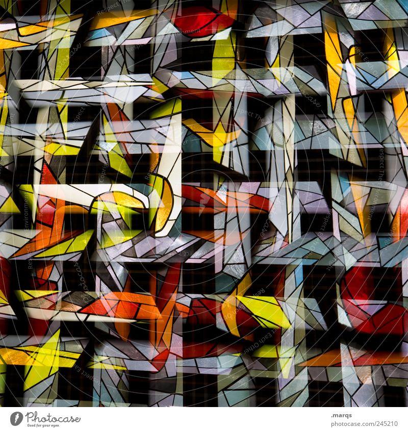 Networking Lifestyle Stil Design Kunst Fenster Glas Linie Streifen außergewöhnlich trendy einzigartig mehrfarbig chaotisch Surrealismus Kirchenfenster
