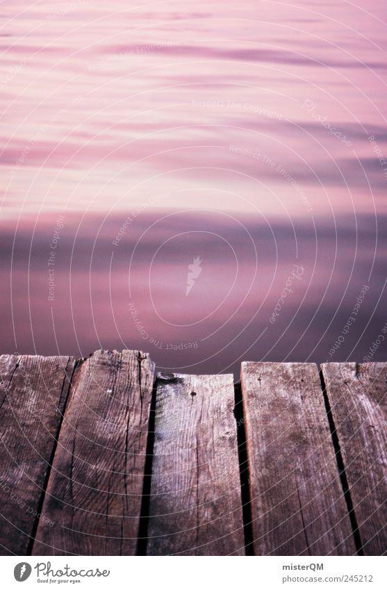 Am See. Kunstwerk Beginn ästhetisch Zufriedenheit ruhig Seeufer Küste Holz Anlegestelle Romantik abgelegen verborgen geheimnisvoll Einsamkeit friedlich