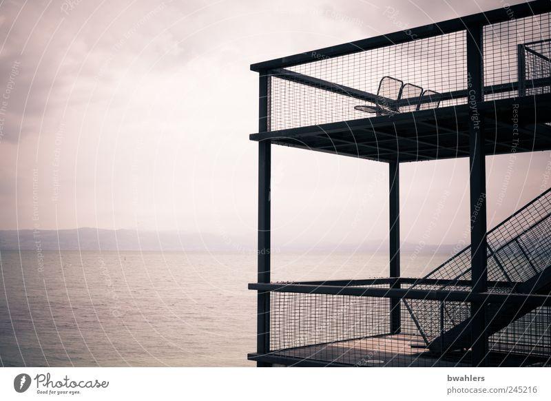 See - Aussicht Himmel Natur Wasser Sommer Ferien & Urlaub & Reisen Wolken Ferne Erholung Landschaft Küste Horizont Treppe Seeufer Schönes Wetter Plattform
