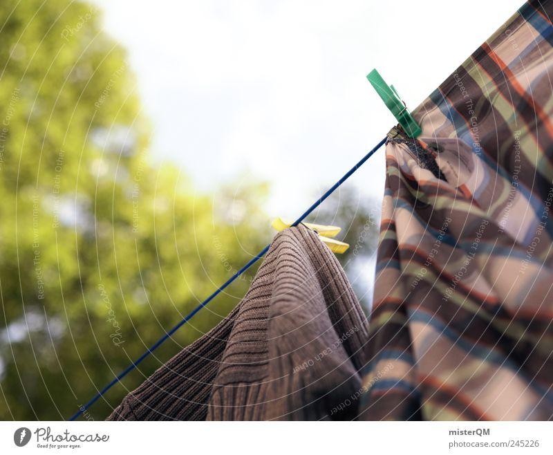 abhängen. Himmel ruhig Bekleidung ästhetisch festhalten wehen trocknen Klammer Arbeitsbekleidung Waschtag Alltagsfotografie