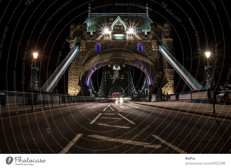 Tower Bridge bei Nacht Ferien & Urlaub & Reisen Stadt Straße Architektur Umwelt Gebäude Tourismus Fassade PKW Verkehr Europa ästhetisch Brücke