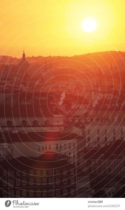 Lisboa. Stadt rot Sonne Sommer Ferien & Urlaub & Reisen gelb Wärme Stimmung orange Tourismus ästhetisch Reisefotografie Fernweh Sehenswürdigkeit Gasse Portugal