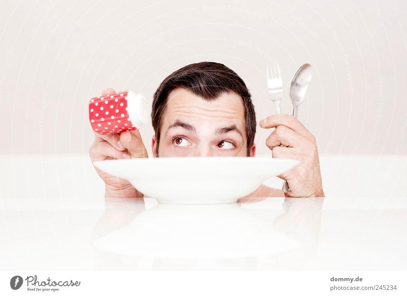 naked lunch Mensch Hand Jugendliche Freude Gesicht Auge Ernährung Kopf Haare & Frisuren Erwachsene Lebensmittel klein hell Finger ästhetisch maskulin
